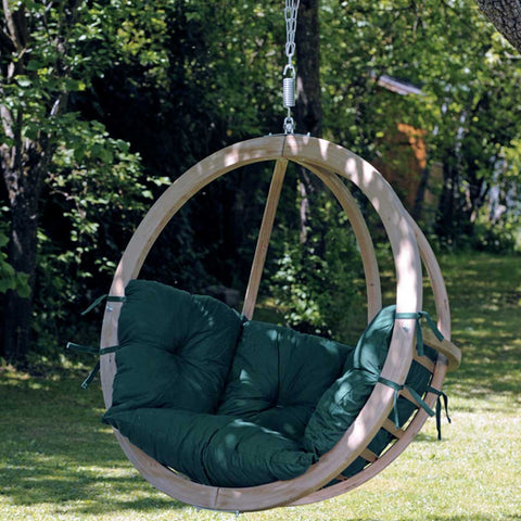 Globo Garden or Indoor Hanging Chair in Weatherproof Green
