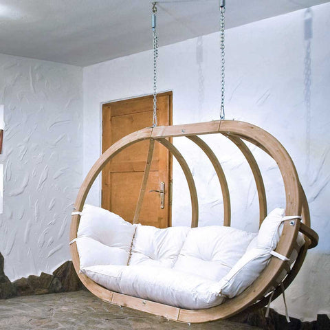 Globo Royal Garden or Indoor Hanging Chair in Natura White