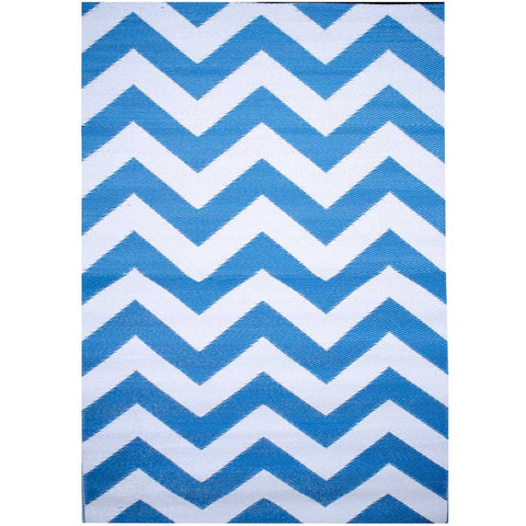 Blue and White Psychedelia Indoor/Outdoor Rug