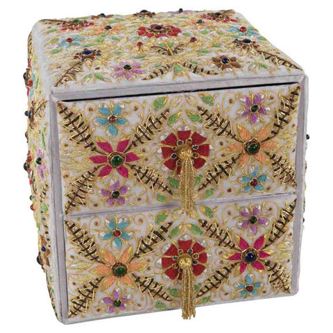 Hand-Embroidered 2 Drawers Jewellery Chest