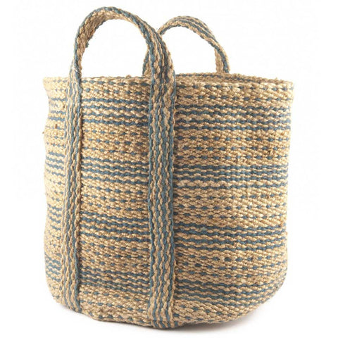 Blue and Natural Hemp Basket