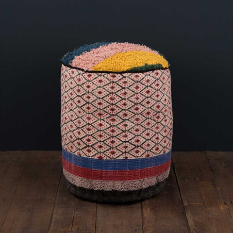 Mondo Block Printed Cotton Pouffe