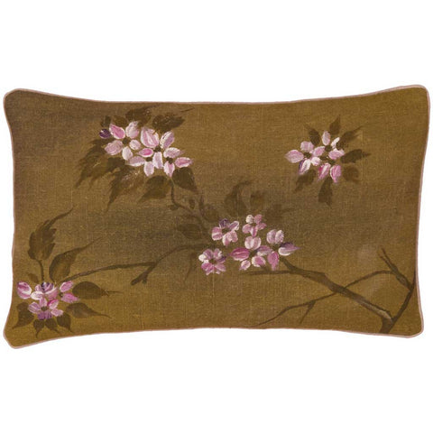 Hand Painted Blossom Linen Cushion Cover