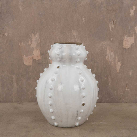 Cloudy White Sea Urchin Vase