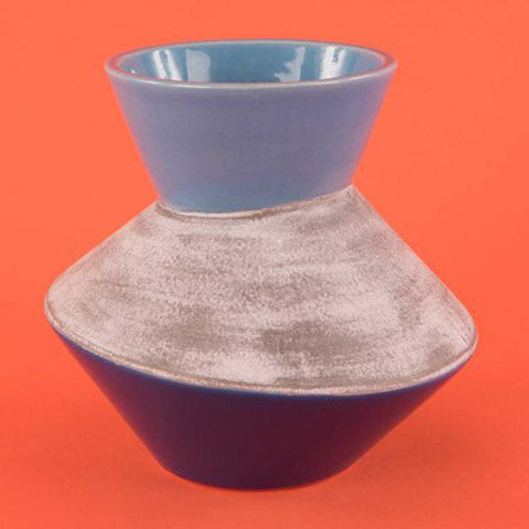 Three-Tone Blues and Grey Grotto Vase