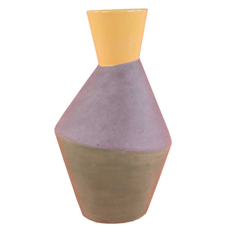 Three-Tone Lemon Grey and Green Grotto Vase