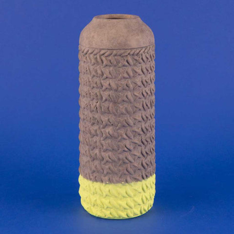 Carlos Two-Tone Earthenware Vase in Lime Green and Grey