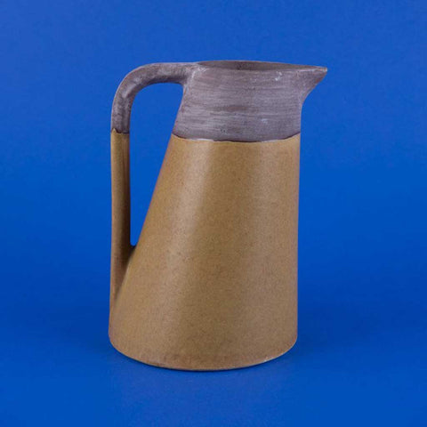 Cana Two-Tone Earthenware Jug Vase in Rustic Taupe