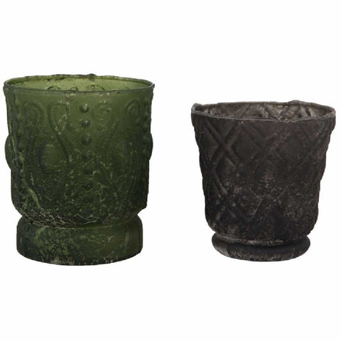 Set of 2 Matt Pressed Glass Votives