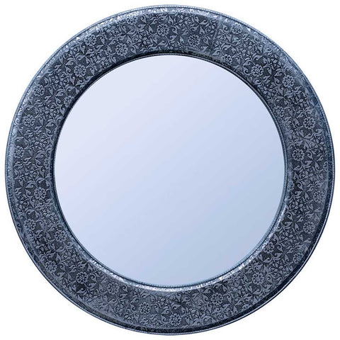 Round Antique Silver Embossed Mirror