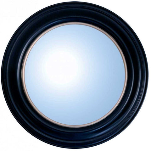 Black Wood Convex Porthole Mirror