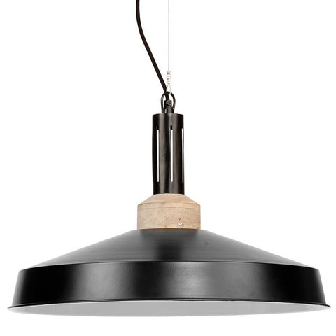 Detroit Black Iron and Wood Pendant Light