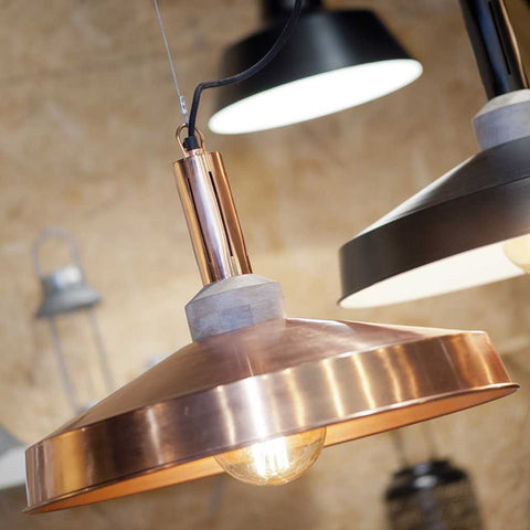 Detroit Copper Iron and Wood Pendant Light