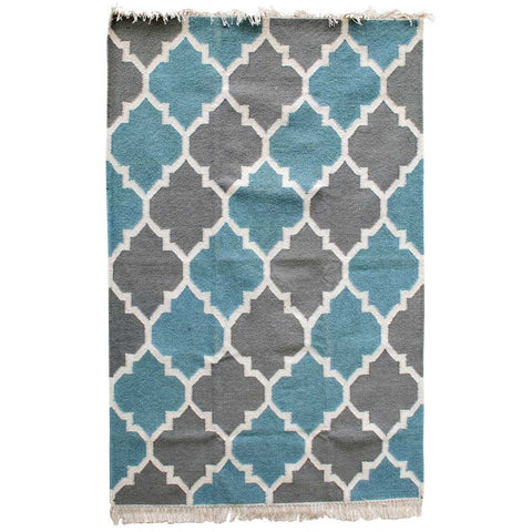 Mughal Lattice Grey and Blue Dhurrie Rug