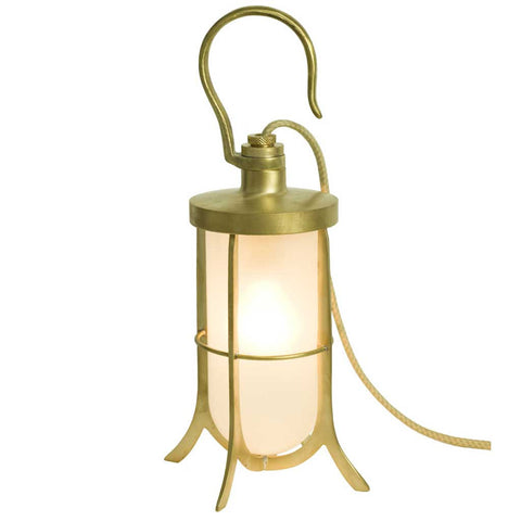 Polished Brass and Frosted Glass Ship's Hook Lamp by Davey Lighting