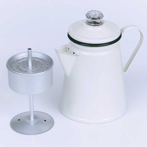 Stovetop or Gas Hob Coffee Percolator in Retro Enamel
