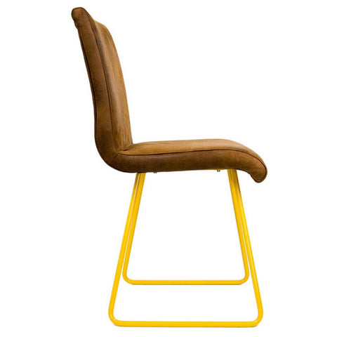 Ari Yellow and Leather Effect Chair