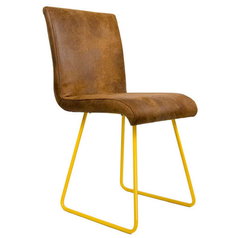 Leather Polo | Chair | Yellow legs and Leather-like