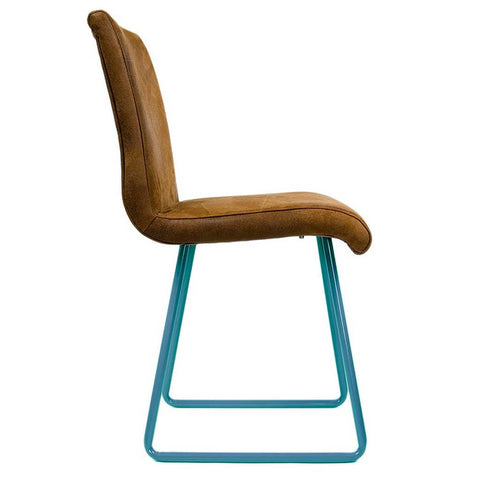 Ari Turquoise and Leather Effect Chair