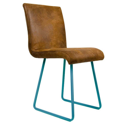 Leather Polo | Chair | Turquoise legs and Leather-like