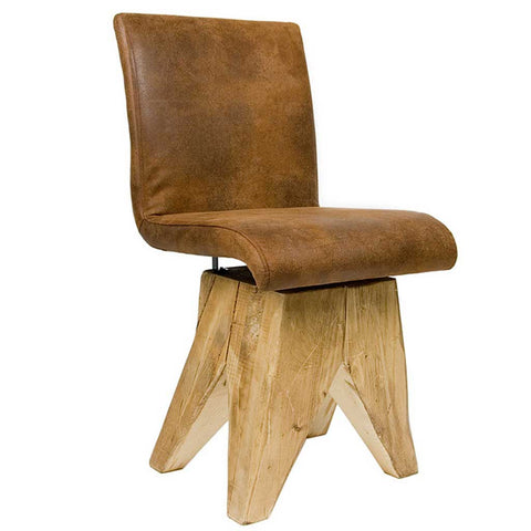 Leather Log | Chalet Chair | Wood and Cotton