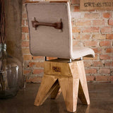 Chalet Leather Wood and Cotton Chair