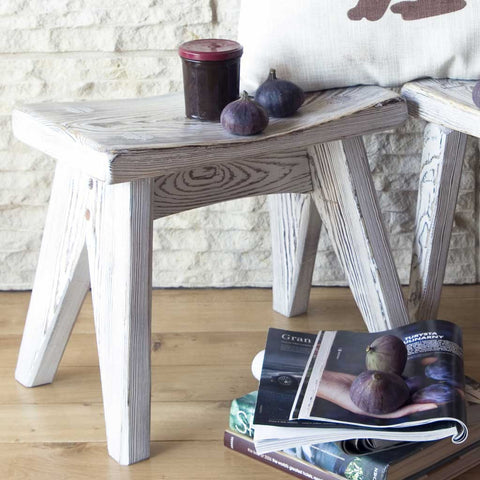Bianca | Curved Wooden Stool | Whitewashed