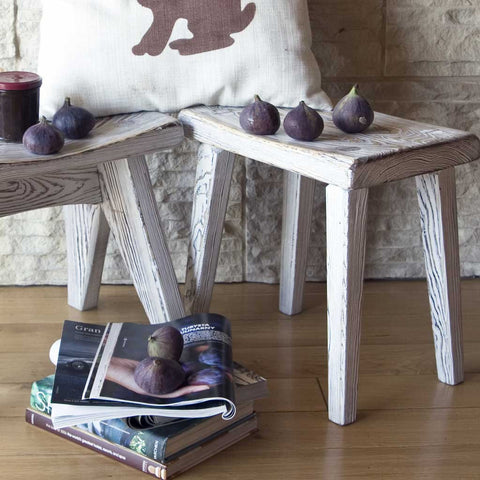 Whitewashed Wooden Stool