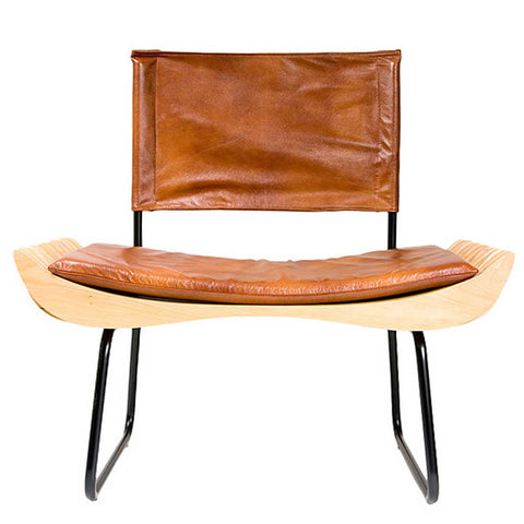 Organique Armchair in Wood and Leather Effect