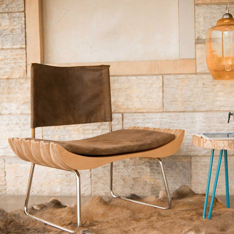 Desert | Organic Wood | Leather Effect Armchair