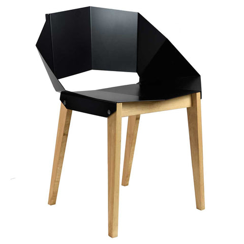 Matte Black Origami | Chair | Steel and Wood