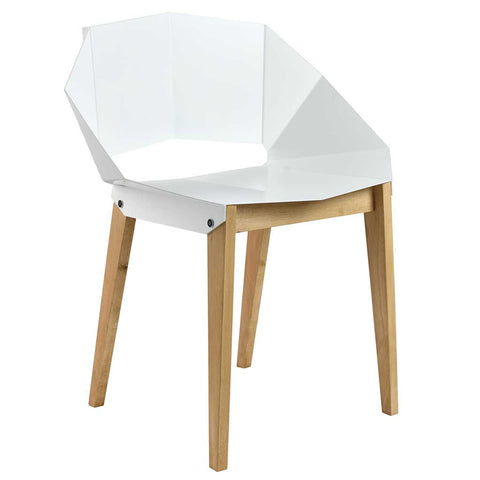 Matte White Origami | Chair | Steel and Wood