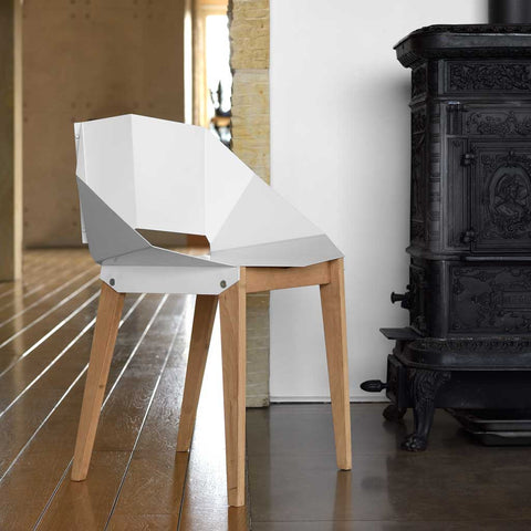 Olivia Steel and Birch Chair in Matte White