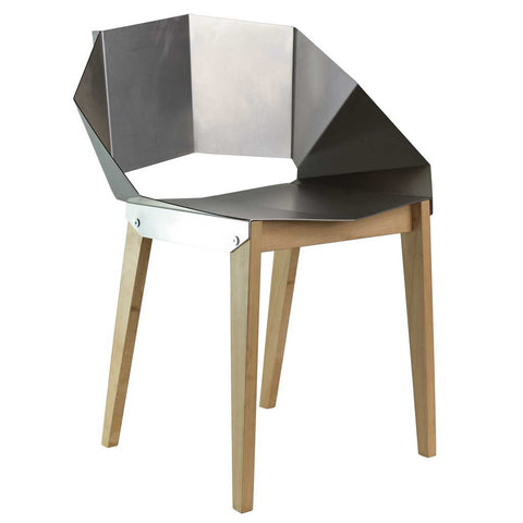 Metallic Grey Origami | Chair | Steel and Wood