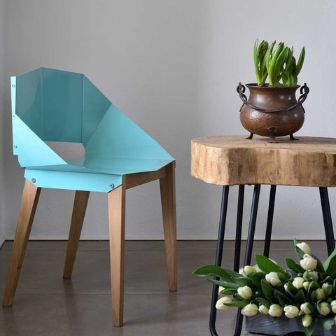 Soft Turquoise Origami | Chair | Steel and Wood