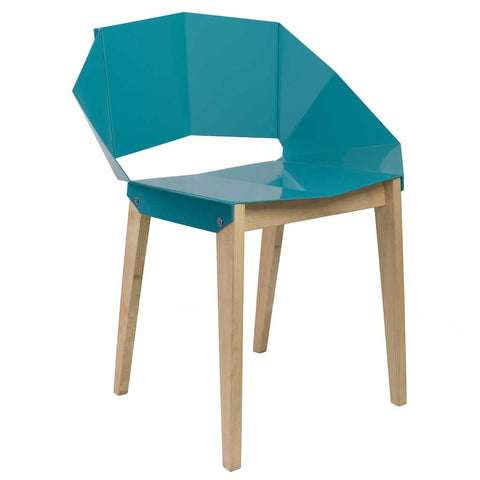 Teal Green Origami | Chair | Steel and Wood