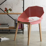 Olivia Steel and Birch Chair in Dusty Pink