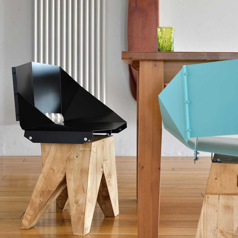 Matte Black Log | Chair | Steel and Wood