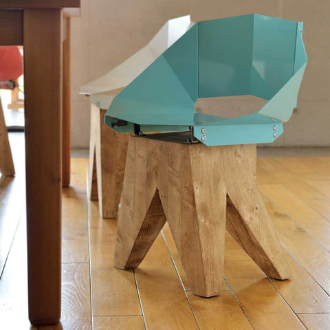Soft Turquoise Log | Chair | Steel and Wood