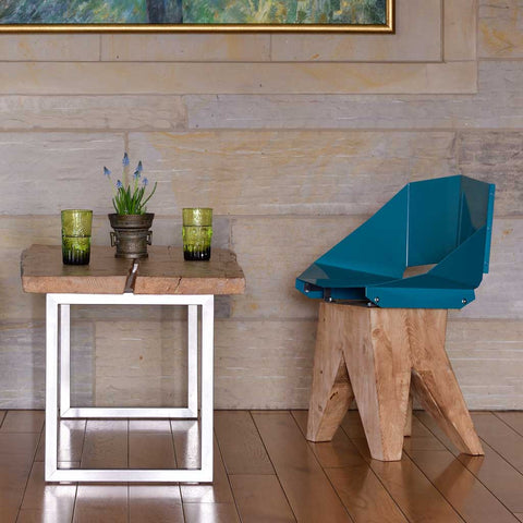 Teal Green Log | Chair | Steel and Wood
