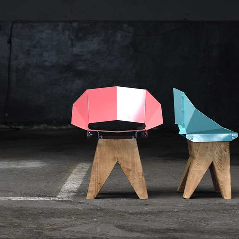 Dusty Pink Log | Chair | Steel and Wood