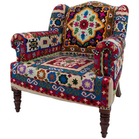 Crewel Hand-Embroidered Maharajah Armchair
