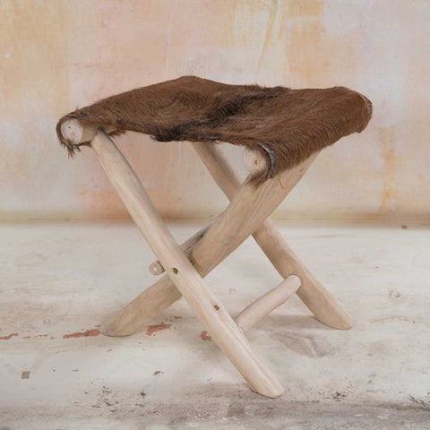 Natural Teak and Hide Folding Stool