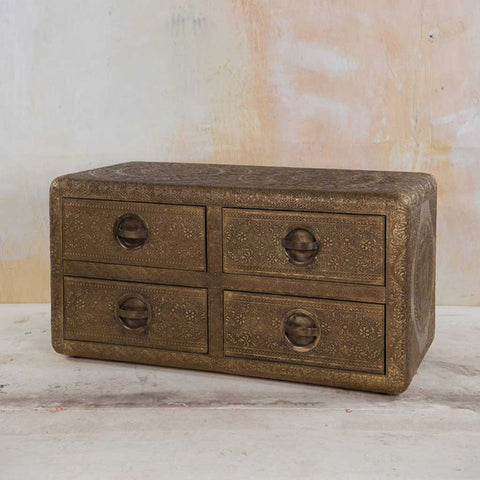 Four-Drawers Embossed Brass Chest