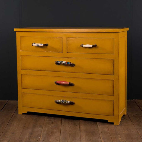 Yellow Chest of Drawers with Ceramic Handles