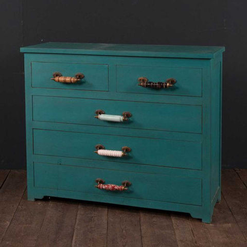Turquoise Chest of Drawers with Ceramic Handles