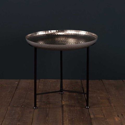 Moroccan Side Table with Nickel Removable Top