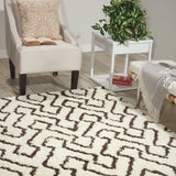 Galway Rug in Ivory White and Chocolate Brown
