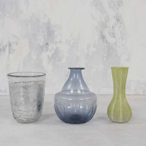 Set of 3 Eclectic Glass Vases
