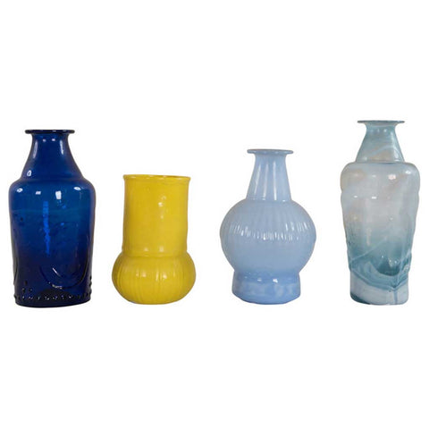 Set of 4 Assorted Glass Vases